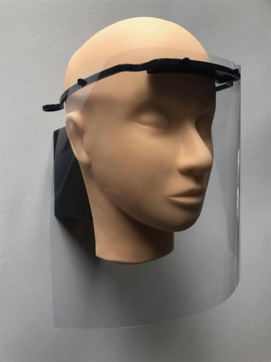 Kopfhalterung für Einwegschutzschild