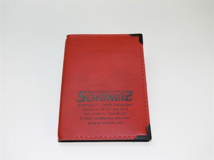 Fahrzeugscheintasche rot/schwarz Folieneinsatz